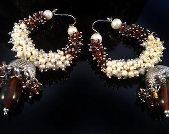 Silver Hoop Earrings,Pearl Jhumkas,Jaipur Jewelry, maroon brown silver Jhumka Earrings Hoops, Pearl earrings,Pearl Jhumkas by TANEESI