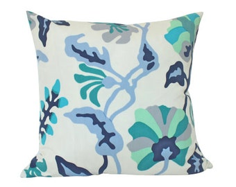 As seen in HGTV Magazine, Alan Campbell Potalla Outdoor Pillow Cover with Blue, Teal and Turquoise Quadrille Fabric