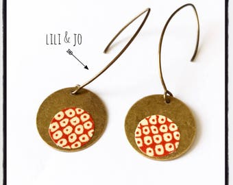 Dangle earrings vintage rust with white polka dots