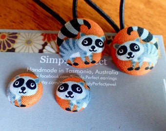 Lemur fabric button hair ties and earrings