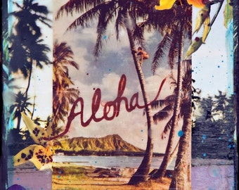 GLASSED, ALOHA WAIKIKI Hawaii, 4x4 and Up, re-collaged, hand-painted and glassed on wood panel, Hawaii, resin art, tropical, custom made