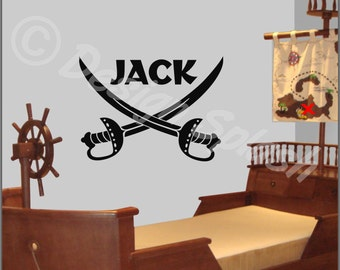 """Kids Room PIRATE SWORDS (Personalized with Name) Large Vinyl Wall Art Decal 30"""" x 22"""" NK-110"""