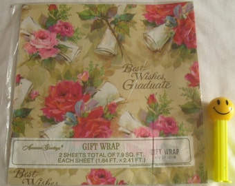 Best Wishes Graduate, Vintage Wrapping Paper, 1960s 1970s American Greetings Gift Wrap, Roses, Diploma, Ephemera, Craft Paper, Journal Paper
