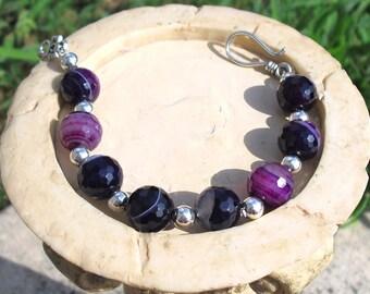 Purple Agate Semi Precious Bracelet
