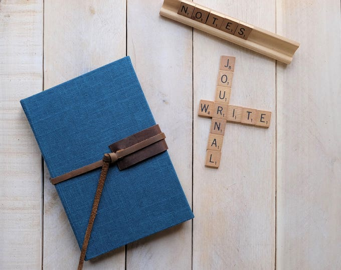 """Linen and Leather Journal or Sketchbook in """"Storm Blue"""""""
