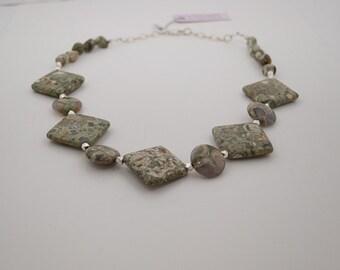 Rhyolite, Rainforest Jasper, Necklace with Thai  Silver
