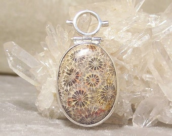 FOSSILIZED INDONESIAN CORAL Oval - Hinged Bead Frame Centerpiece in Stone and  Sterling Silver