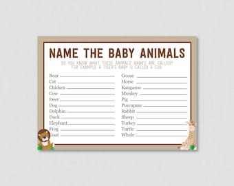 Baby Animals Name Game Safari Baby Shower Printable - Instant Download - Safari Baby Shower Game, Giraffe, Lion - Safari