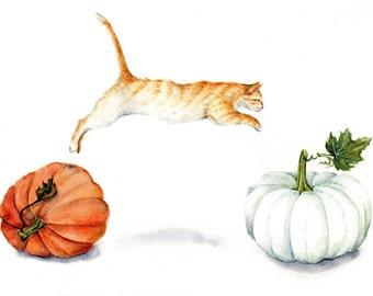 Fall Acrobatics - Art Print of Watercolor Painting red tabby jumping orange cat white pumpkin thanksgiving autumn pumpkin harvest