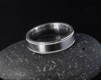Simple Mens Wedding Band - Custom Setting - Milgrain Band, Flat