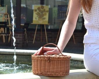 Bali bag, Wicker bag with leather strap, straw bag, rattan purse, rattan crossbody bag, rattan handbag, summer bag, summer purse