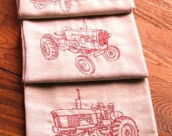 Set of 3, Linen Kitchen Tea Towels, Old Time Tractors and Truck