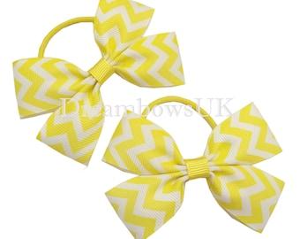 Yellow chevron design hair bows thin hair bobbles, toddler hair accessories, yellow hair bows, girls chevron hair accessories, hair elastics