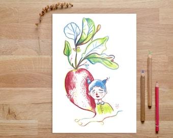 Pflanzen Poster, Pflanze Illustration, Poster Für Küche, Bild Für Küche,  Radieschen Poster