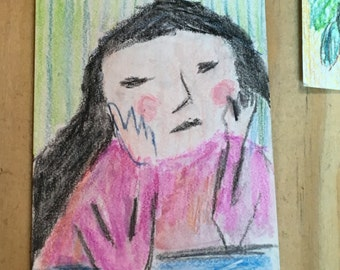 Original ACEO Watercolor Painting: Puzzle