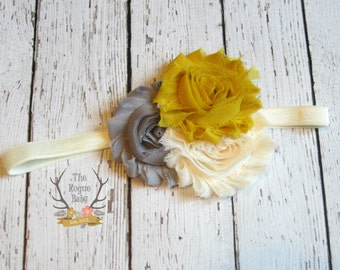 Mustard Yelow Gray Cream Headband -  Baby Headband - Newborn Infant Baby Toddler Girls Adult Wedding