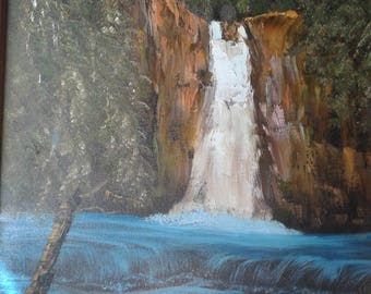 Vintage Oil On Canvas.Trees/Waterfall/Stream/Running Water/Idaho?/Signed Yvonne