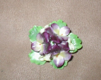 Vintage STAFFORDSHIRE Bone China Floral Brooch