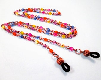 Glasses Chain, Eyeglass Lanyard, Colorful Glass Beaded Copper Chain, FREE Shipping U.S.