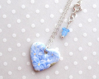 """SALE! Valentine Heart Pendant Necklace. 18"""" Sterling Chain. Violets. Ceramic. Glass Beads. Blue. Green. White. Porcelain Clay. Cottage Chic"""