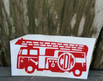 Monogram Laptop decal, firefighter decal, firetruck decal, computer decal, personalized decal, firefighter gift, vinyl decal, custom decals