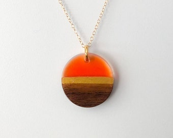 Wood Resin Pendant on a gold filled chain