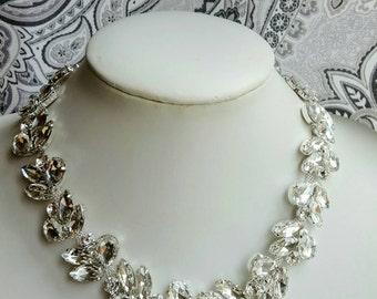 Large crystal bridal necklace,large crystal choker, crystal bridal necklace, teardrop crystal,wedding necklace,rhinestone necklace