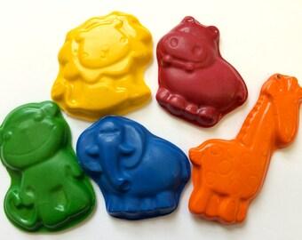 5 Jungle Zoo Animals Crayons  Birthday Party Favors - Lion - Elephant - Hippo - Monkey - Giraffe