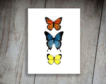 Butterflies Watercolor Print Art Nursery Decor Boho Girl's Room Vintage Bug Insect