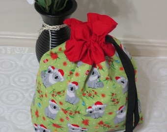 Tote bag,drawstring closing,lined-koala christmas.