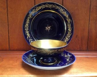 Rosenthal Selb Germany Cobalt Blue and Gold Echt Tea Cup Saucer and Tea Dessert Plate
