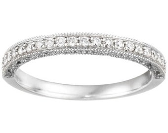 Vintage Milgrain with Filigree .15ct Cubic Zirconia - Sterling Silver Wedding Band - Antique Wedding Band - Stacking Rings - Milgrain Ring
