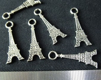 Destash (6) Large Eiffel Tower Charms - for pendants, jewelry making, crafts, scrapbooking