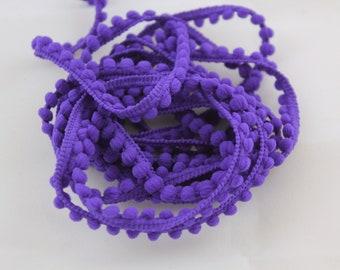 Baby Pom Pom Trim - Purple Pom Pom Fringe