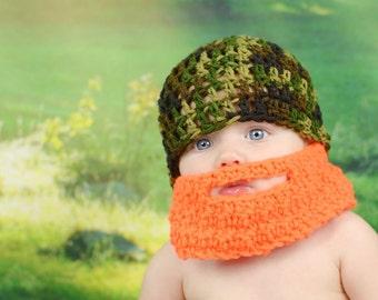 Baby Beard Hat, Crochet Beard Hat, Hat With Beard, Newborn Beard Hat, Camo Beard Hat, Lumberjack Hat, Infant Beard Hat, Beard Beanie