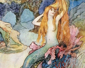 5x7 inch LITTLE MERMAID with COMB Digital Printable Art for Tags Cards Paper Crafts Framing Transfer Art...fairy tale fantasy Warwick Goble