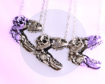 dinosaur necklace, t-rex necklace, jurassic park, silver necklace, jurassic world