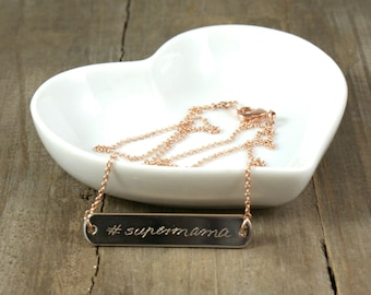Delicate engraved necklace #supermom , 16k rosé-gold plated personalized necklace, necklace with name, layering necklace, mother day gift