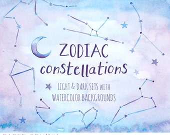 Watercolor Stars Clipart - Zodiac Constellations - Astrology Elements - Dark and Light Backgrounds - Digital Instant Download PNG Files