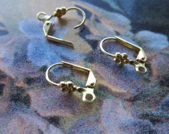 Brass Lever Back Ear Wires With Flower Design 6 Prs.