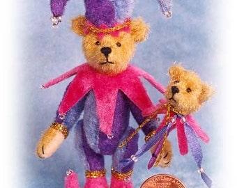 Jester Bear with Toy Miniature Teddy Bear Kit - Pattern - by Emily Farmer