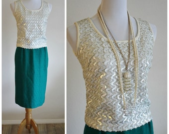 Vintage 50's 60's Zig Zag Ivory Irridescent Sequinned Tank Blouse Shirt Shell Top BART STANLEY California