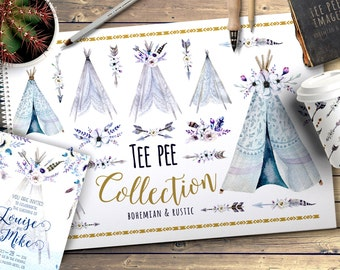 Watercolor boho teepee with feathers. Wedding  floral digital tee pee, arrows, Clip art . Individual  bohemian PNG bouquets. Hand Painted .