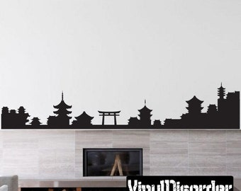 Japanese Symbol Skyline Wall Decal - Wall Fabric - Vinyl Decal - Removable and Reusable - JapaneseSymbolUScolor009ET