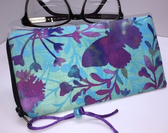 Opulent Eyeglass Case, Glasses Case, Sunglass Case, Fabric Eyeglasses Pouch, Zip Top Eyeglass Case,