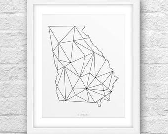 Georgia Map, Georgia Print, Georgia Art, Georgia State, Georgia Minimal Design, Minimalist Art, Georgia Printable,InstantDownload, ModernArt