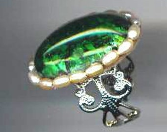 Dichroic German Glass Ring . Genuine Pearls . OOAK . Statement Ring . Beaded - Green Green Grass by enchantedbeads on Etsy