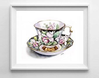 Teacup print, teacup art, print of my original watercolor painting