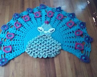 Crocheted peacock rug