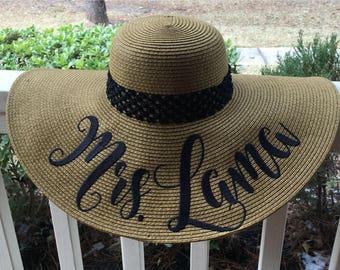 """EMBROIDERED Bride Floppy Hat, Custom """"Mrs."""" Floppy Hat, White with Black Monogrammed Bride Beach Hat - Wedding Gift"""